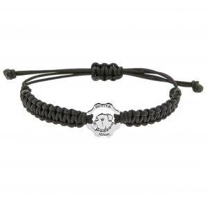 Bracciale simbolo bulldog argento e filo nero