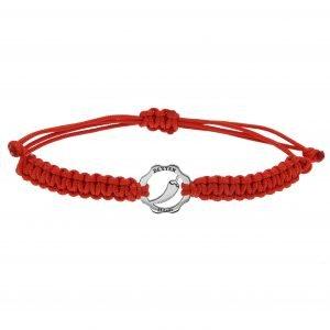 Bracciale simbolo peperoncino argento filo rosso