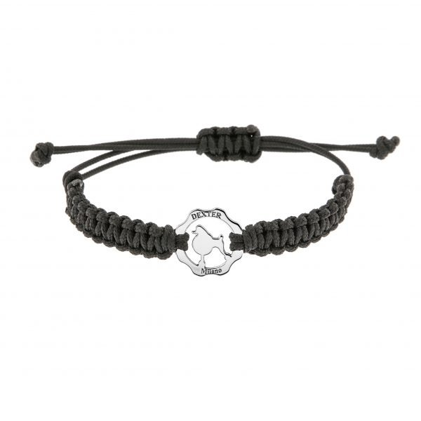 Bracciale simbolo barboncino argento filo nero