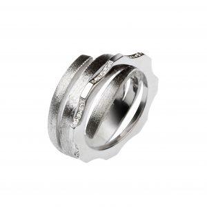 Anello Curl argento con zirconi