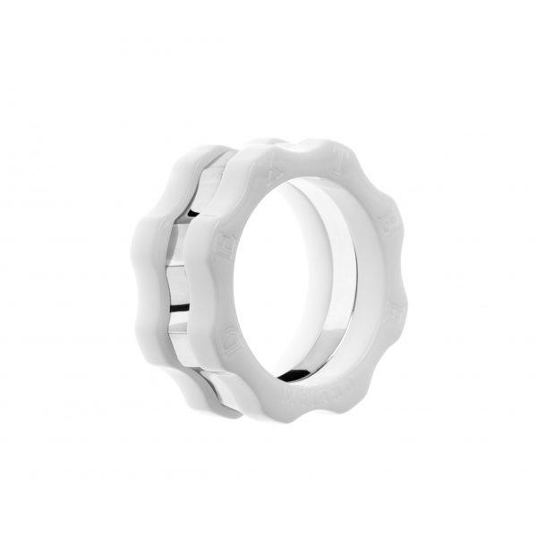 Combinazione Anello Classico plexyglass bianco, argento e plexyglass bianco.