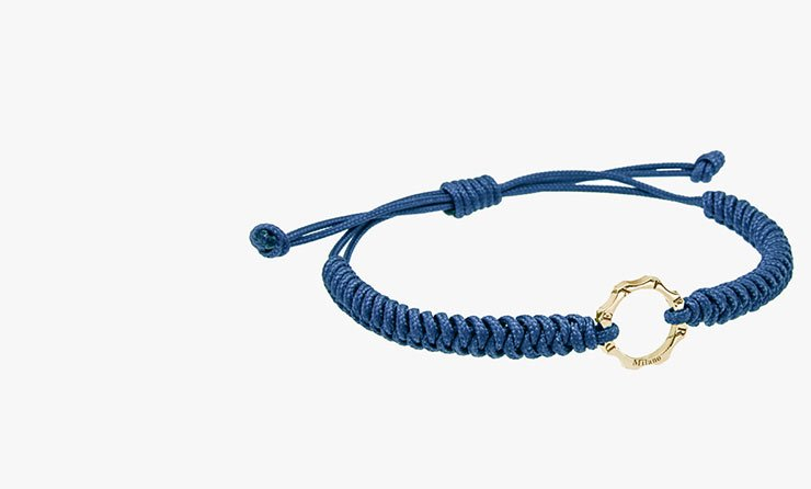 Bracciale oro e filo blu Dexter