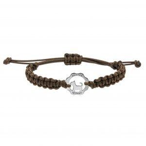 Bracciale simbolo cane argento - filo marrone cioccolato