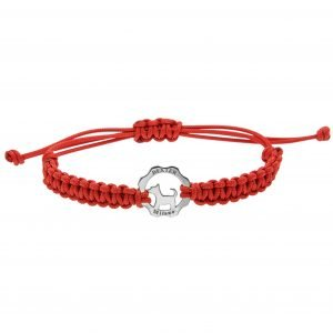 Bracciale simbolo cane argento filo rosso