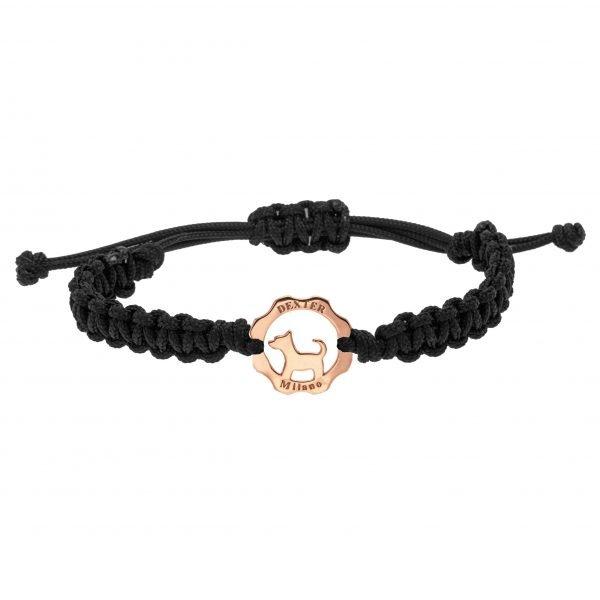 Bracciale simbolo cane oro rosa - filo nero