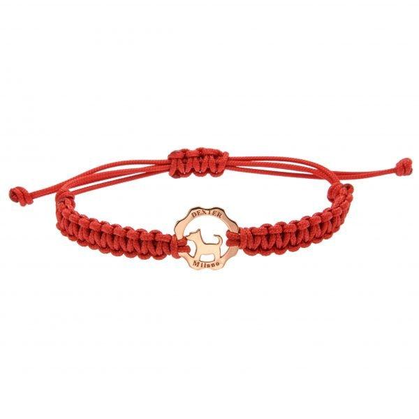 Bracciale simbolo cane oro rosa - filo rosso