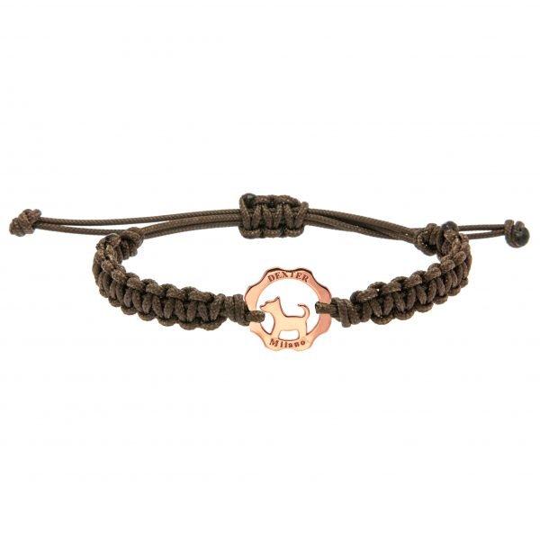 Bracciale simbolo cane oro rosa - filo marrone cioccolato