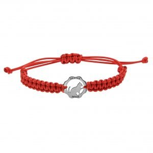 Bracciale simbolo gatto argento filo rosso